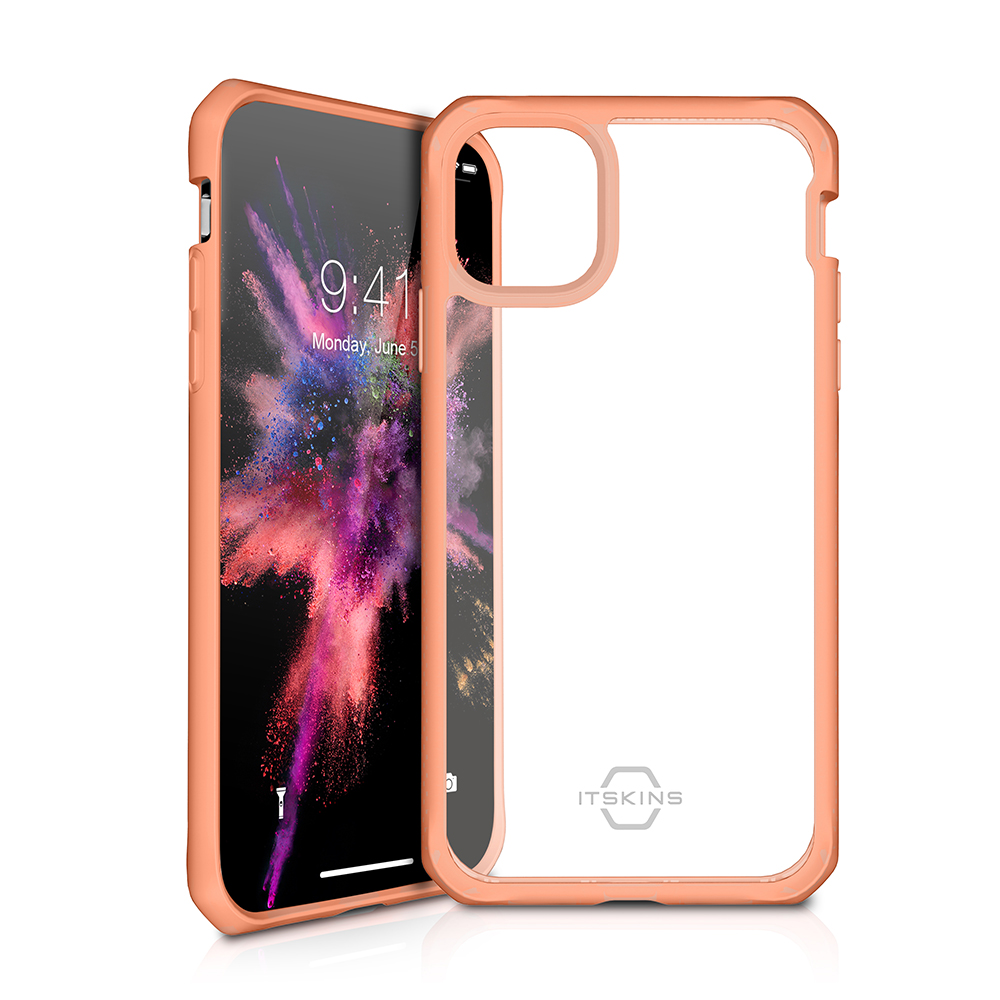 ITSKINS Cover til iPhone 11 Pro. Gennemsigtig m. Orange kant