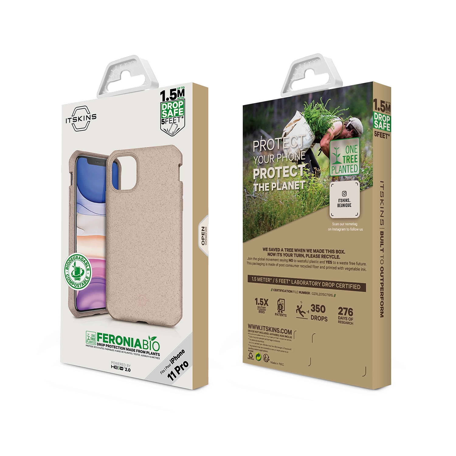 "ITSKINS FERONIABIO Cover til iPhone 11 Pro 5,8"". Natur"