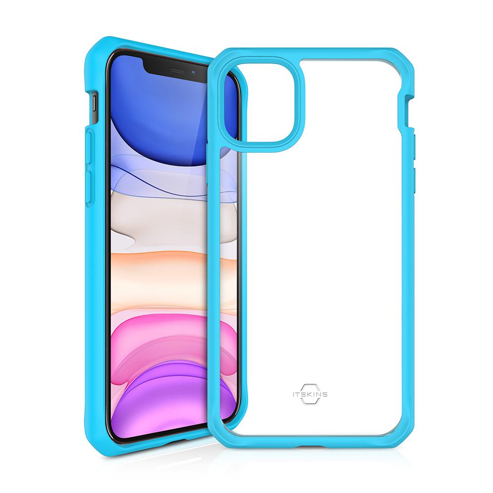 """ITSKINS Cover til iPhone 11 6,1"""". Gennemsigtig m. Blå kant"""